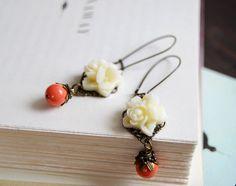 Resin Flower Bouquet Swarovski Orange Coral Pearls by LeChaim, $18.00