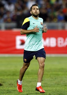 Jordi Alba of Barcelona FC runs during Barcelona FC training session at Bukit Jalil National Stadium on August 9, 2013 in Kuala Lumpur, Malaysia.