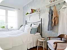 Hooks in the bedroom. We'd totally use these to lay out clothes the night before work!