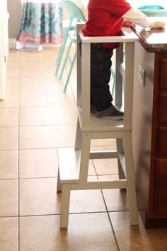 Why We Recommend Building Matilda's Activity Tower - Ikea stool Woodworking Projects For Kids, Wood Projects, Kitchen Helper, Diy Kitchen, Toddler Fun, Toddler Stuff, Matilda, Diy For Kids, Diy Furniture