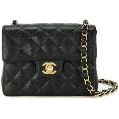 Chanel Vintage Mini Flap Shoulder Bag ($6,600) ❤ liked on Polyvore featuring bags, handbags, shoulder bags, black, vintage leather purse, chain shoulder bag, chanel shoulder bag, quilted leather handbags and vintage purse
