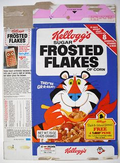 1980s cereal | 1980 Kellogg's Frosted Flakes Cereal Box Front | Flickr - Photo ...