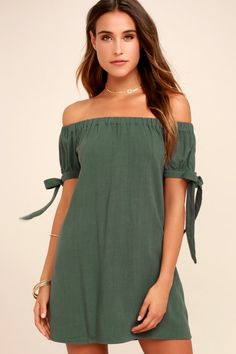 Cute Dresses, Casual Dresses, Floral Dresses, Cute Casual Outfits, Bow Shorts, Olive Green Dresses, Black Lace Bralette, Cold Shoulder Dress, Shoulder Tops