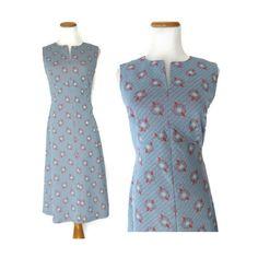 Mod Shift Dress // 60s Mod Dress // 60s Scooter Dress // Floral 60s Dress // Light Blue Sleeveless 1960s Dress // Twiggy Dress // Size Small by GoodLuxeVintage on Etsy