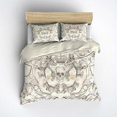 Featherweight Skull Bedding -  Brown Skull & Gun Print on Cream - Comforter Cover - Sugar Skull Duvet Cover, Sugar Skull Bedding Set