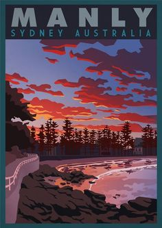 Vintage Travel Vintage Retro Travel and Railways Reproduction Print Poster Nr Manly - Sydney Australia Retro Poster, Poster Vintage, Vintage Travel Posters, Retro Vintage, Manly Sydney, Posters Australia, Australian Vintage, Art Nouveau Poster, Tourism Poster