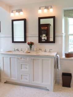 Cute Small Double Vanity For The Girls Bathroom With Glass Knobs