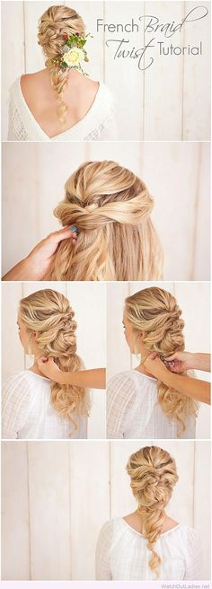 French braid twist tutorial for weddings