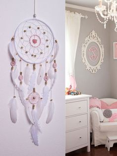 Large Pink Dream Catcher, White and Pink DreamCatcher, Bohemian Dream Catchers…