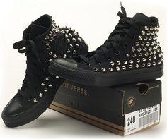 Custom Made Genuine A Black Converse Silver Spike Stud Punk Rock Fashion Sneaker   eBay