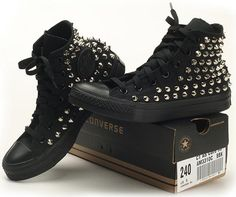 Custom Made Genuine A Black Converse Silver Spike Stud Punk Rock Fashion Sneaker | eBay