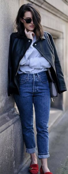 cute street style outfit leather jacket + jeans + top