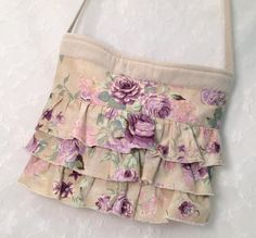 Shabby chic Amethyst and Lavender Roses ruffles by LizBagz
