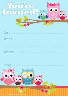Free Printable Party Invitations: Cute Owl Invitations