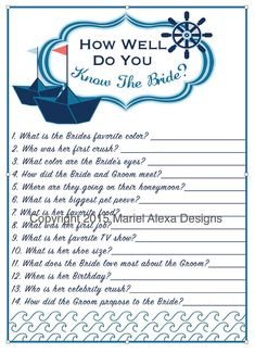Bridal Shower Game How well do you know the bride -  Nautical Theme Bridal Shower - Personalized Custom - Printable - DIY - PDF - Memory Game, How Well do You know The bride, What's in your phone games  TheBrandedBangleby TheBrandedBangle