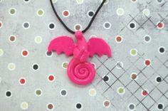 Cute Pink Dragon Necklace  Polymer Clay Wyvern by DragonJewelryArt, $14.99
