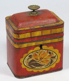 Red and yellow tin. Vintage Canisters, Vintage Kitchenware, Vintage Kitchen Accessories, Coffee Tin, Vintage Trunks, Tin Art, Metal Containers, Vintage Packaging, Old Boxes