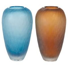 Refresh your home for summer with this must-have design.  Product: 2 Piece vase setConstruction Material: GlassColor: Blue and orangeDimensions: 12 H x 3 Diameter each