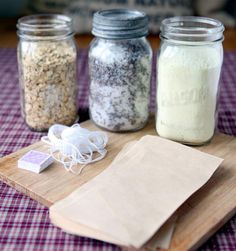 Lavender Oatmeal Tub Tea Recipe • 2 cups Epsom salts • 2 heaping tablespoons dried lavender • 15-20 drops lavender essential oil • 1 cup oatmeal • 1 cup powdered milk • Mixing bowl • Spoon • 9 Extra large (size 4) tea filters • Diamond hang tags • Stapler