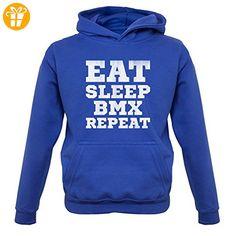 Eat Sleep BMX Repeat - Kinder Hoodie/Kapuzenpullover - Royalblau - M (5-6 Jahre) (*Partner-Link)