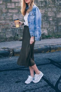 Pleated midi + sneakers + denim jacket