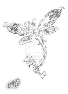 Now this is cool. I'd change some of the images on the wings and include a dragon, but I love the idea of it including a skeleton key. I'd also remove whatever that is on top of the key. More to ponder...