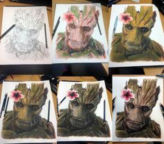 Groot |  Pencil Drawings Bring Life On Paper! theartinspiration.com