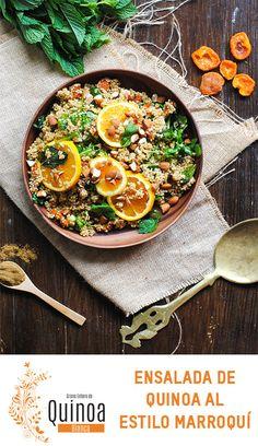 Receta vegana, ensalada de quinoa al estilo Marroquí / Vegan recipe, Moroccan-style quinoa salad.
