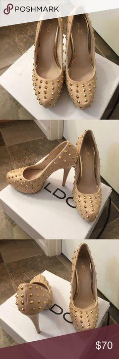 ALDO Size 8 Merlo studded heels in nude ALDO Size 8 Merlo studded heels in nude Aldo Shoes Heels