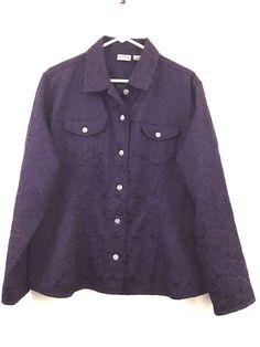 Chicos Blazer Jacket Embroidered Satiny 5 Button Front Collared Size 3 Purple #Chicos #Blazer