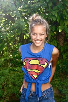 811b15fc6eb0 superman tee made from cut up old oversized tee Supergirl