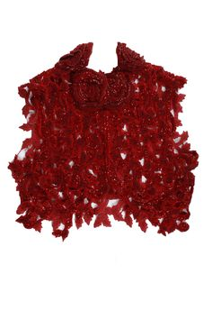 Red embroidered cutwork jacket available only at Pernia's Pop-Up Shop.