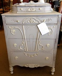 gorgeous chest painted with farmhouse paint palace gray and white ash with teastain antiquing gel over top