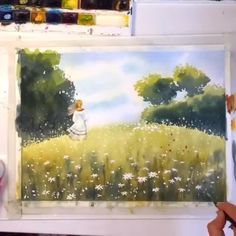 Amazing piece😄 By 💫 Release your creativity with a BONUS. Watercolor Video, Watercolor Painting Techniques, Watercolour Tutorials, Watercolor Artwork, Watercolor Landscape, Painting & Drawing, Landscape Paintings, Digital Painting Tutorials, Art Tutorials