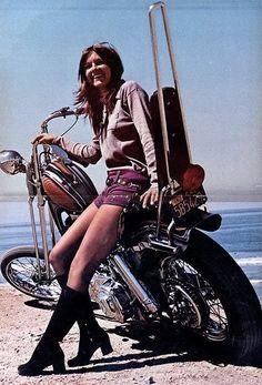60s babe on a Harley Panhead Chopper.  GROOVIE! killscumspeedcult.com TAGS; 70s, hippie, psychedelic, psychedelia, fillmore, poster, black, light, print, poster, stoner, van, weed, bud, bong, mushrooms, biker, springer, clothing, hat, jacket, leather, pat