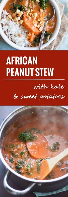 Thick sweet potato slabs are nestled in tender kale leaves and savory African peanut stew. Serve it up with rice and crunchy roasted peanuts for a hearty and delicious winter meal.