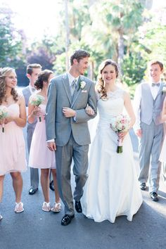 Bride and Groom walking with Bridal Party   The-Palms-Chico-California-Wedding-Photographer