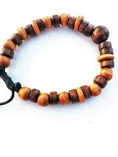 Man Bracelet, Beaded Bracelet, Bead Bracelets, mens bracelet, Mens jewelry, wood bead bracelet, brown bracelet for men, bohemian bracelets by KIsJewelryDesigns on Etsy