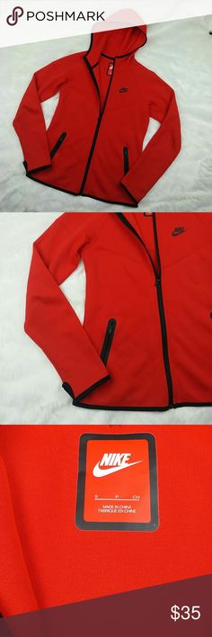 Nike red zip up hoodie Pre owned but in excellent condition. Pop of color with very sexy design fit. A perfect hoodie on the go that will make you stand out. Size small womens Nike Jackets & Coats