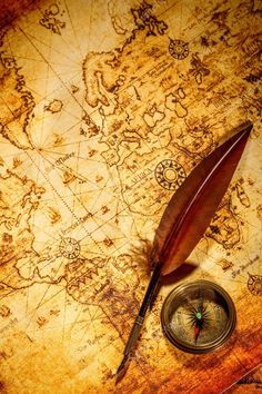Photo about Vintage still life. Vintage compass and goose quill pen lying on an old map. Image of grungy, brown, navigation - 30678850 Vintage Compass, Quilling, Still Life, Vintage Photos, Map, Stock Photos, Artwork, Globes, Pens