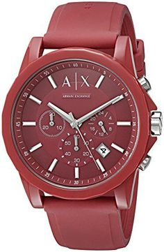 Armani Exchange Men s Red Silicone Watch  A sporty silicone strap anchors a  bold red chronograph dial with silver-tone accents in this unisex watch by  ... 1e3549dd5c