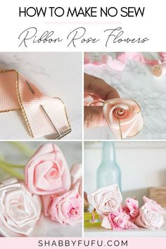Ribbon crafts flowers are an easy and beautiful way to add a floral touch to your home decor. In this post, I'll teach you a super simple and fast way to make roses with ribbon - no sewing needed!  ribbon ideas | flowers to make | flowers projects | flowers ideas | wedding flowers | ribbon decor diy | decorations ribbon