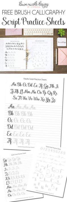 Script Brush Calligraphy Worksheets | DawnNicoleDesigns.com