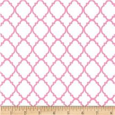 Quatrefoil White/Pink  www.fabric.com  Coco's curtains, maybe