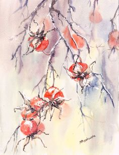 Zimowa dzika róża - akwarela - Maria Roszkowska WATERCOLOR