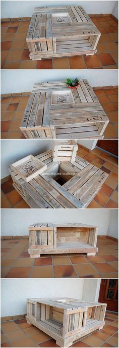Inexpensive DIY Shipping Wood Pallet Recycling Projects: Catching with some of the cheap and inexpensive ideas of the shipping wood pallet recycling projects is the ultimate wish of. Wood Pallet Tables, Pallet Lounge, Diy Pallet Furniture, Diy Pallet Projects, Pallet Ideas, Recycling Projects, Pallet Benches, Pallet Couch, Pallet Bar