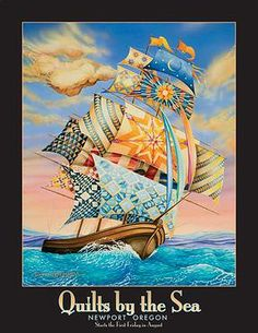 Women on Board  Poster by Dennis McGregor, for 20th Anniversary of the Annual Quilts by the Sea  in Newport, Oregon