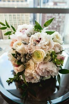 Winter wedding bouquet - hunter green, blush pink, and ivory. #studioag #studioagdesign Photo by: kolorblind.net