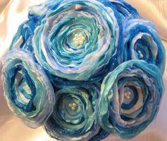blue fabric flower bridal bouquet