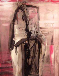 Acrylic, enamel, colored tissue on canvas